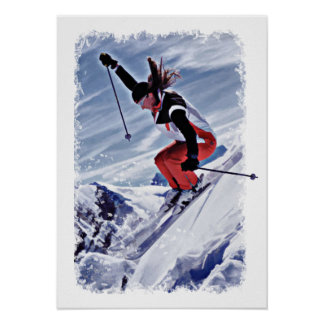 Skiing Down the Mountain in Red Poster