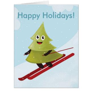 Skiing Happy Pine Tree Winter Card