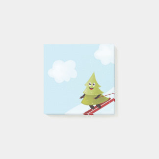 Skiing Happy Pine Tree Winter Post-it Notes