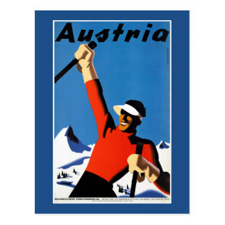 Skiing in Austria Vintage Travel Poster Postcard