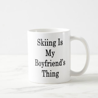 Skiing Is My Boyfriend's Thing Coffee Mug