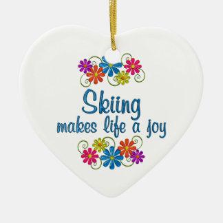 Skiing Joy Ceramic Heart Ornament