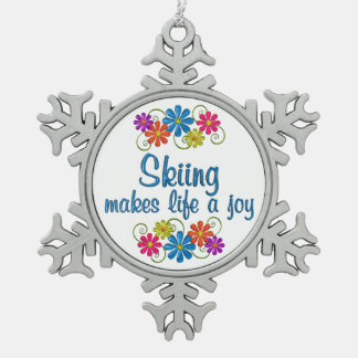 Skiing Joy Snowflake Pewter Christmas Ornament