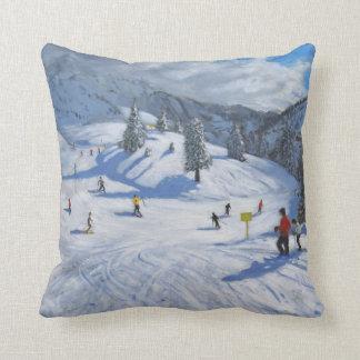 Skiing Kitzbhuel 2014 Throw Pillow
