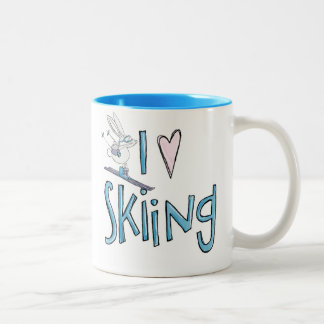 Skiing love cute bunny coffee mug