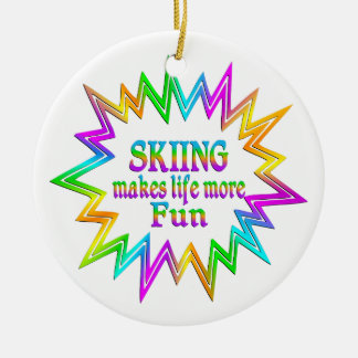 Skiing More Fun Ceramic Ornament