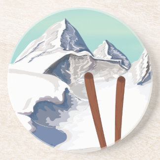 Skiing Mountains Drink Coaster