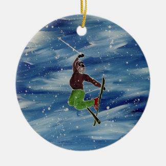 Skiing ornament