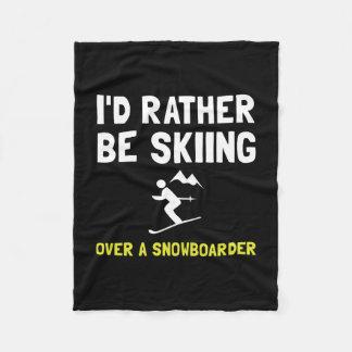 Skiing Over Snowboarder Fleece Blanket