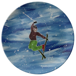 Skiing plate porcelain plate