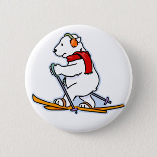 Skiing Polar Bear 2 Inch Round Button