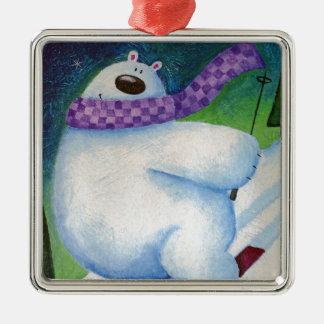 Skiing Polar Bear Metal Ornament