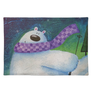 Skiing Polar Bear Placemat