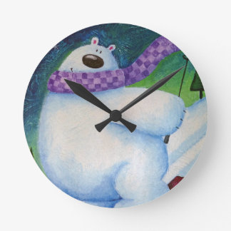 Skiing Polar Bear Round Clock