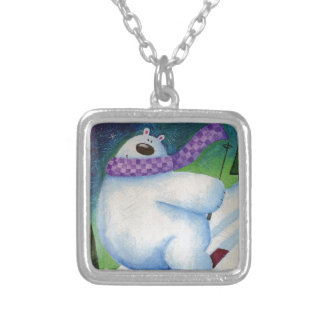 Skiing Polar Bear Silver Plated Necklace