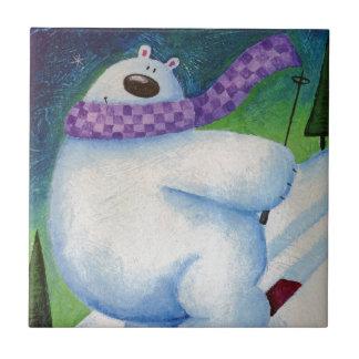 Skiing Polar Bear Tile