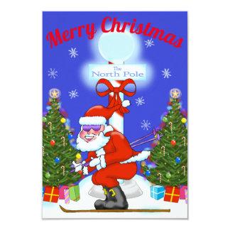 Skiing Santa Christmas Party Invitations