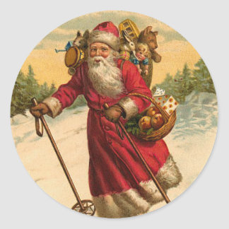 Skiing Santa Christmas sticker