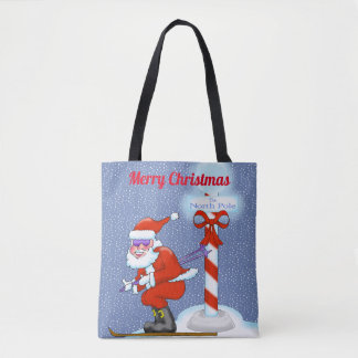 Skiing Santa Christmas Tote Bag