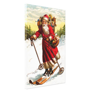 Skiing Santa Claus Gallery Wrapped Canvas
