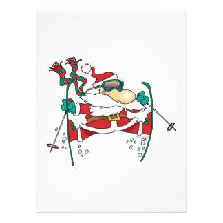 skiing santa claus cartoon personalized invites