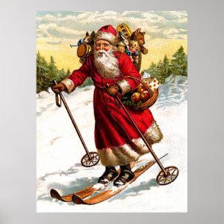 Skiing Santa Claus Poster