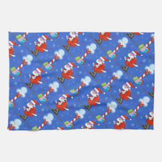 Skiing Santas Christmas Kitchen Towel