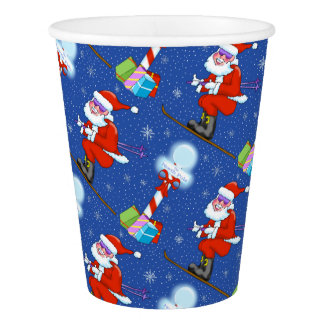 Skiing Santas Christmas Paper Cups