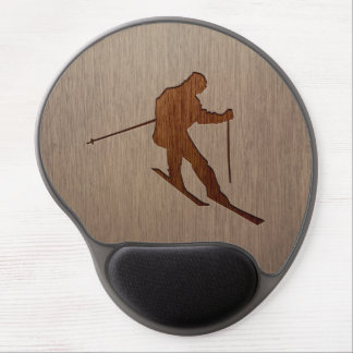 Skiing silhouette engraved on wood design gel mouse pad
