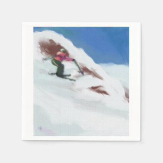 Skiing Snow Mountain Art Paper Napkin