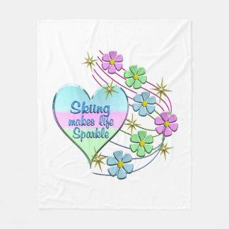 Skiing Sparkles Fleece Blanket
