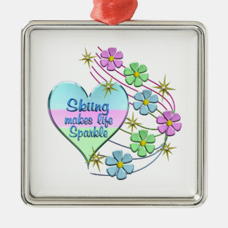 Skiing Sparkles Metal Ornament