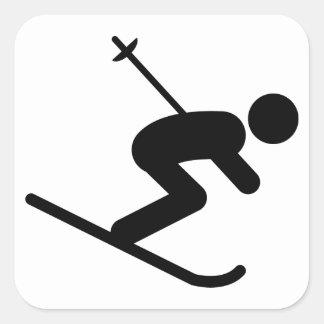 Skiing Square Sticker