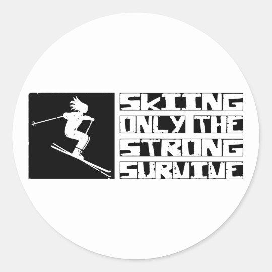 Skiing Survive Classic Round Sticker