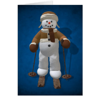 Skiing Vintage Snowman Card