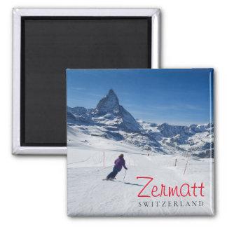 Skiing with Mt. Matterhorn in Zermatt, Switzerland Magnet