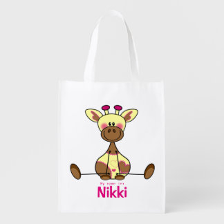 Skilful case with illustration of a lief girafje reusable grocery bag