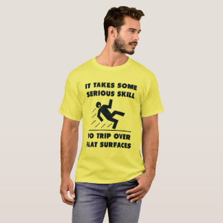 Skill Trip Tripping warning sign parody Funny T-Shirt