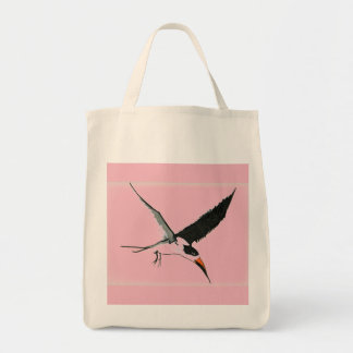 Skimmer Shopping Tote - Pink on Natural Background