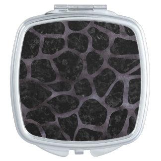 SKIN1 BLACK MARBLE & BLACK WATERCOLOR (R) COMPACT MIRROR