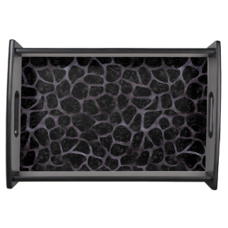 SKIN1 BLACK MARBLE & BLACK WATERCOLOR (R) SERVING TRAY