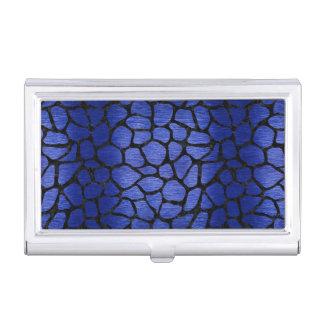 SKIN1 BLACK MARBLE & BLUE BRUSHED METAL BUSINESS CARD HOLDER