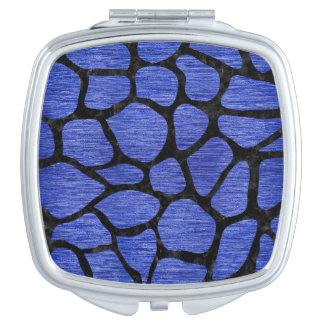 SKIN1 BLACK MARBLE & BLUE BRUSHED METAL COMPACT MIRRORS