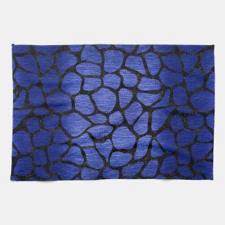 SKIN1 BLACK MARBLE & BLUE BRUSHED METAL HAND TOWELS