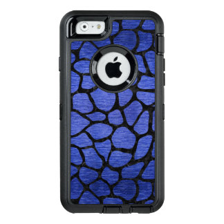 SKIN1 BLACK MARBLE & BLUE BRUSHED METAL OtterBox DEFENDER iPhone CASE