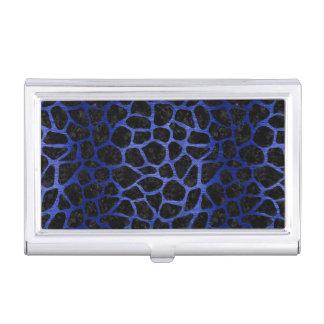 SKIN1 BLACK MARBLE & BLUE BRUSHED METAL (R) BUSINESS CARD HOLDER