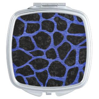 SKIN1 BLACK MARBLE & BLUE BRUSHED METAL (R) MIRROR FOR MAKEUP