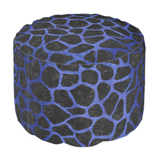 SKIN1 BLACK MARBLE & BLUE BRUSHED METAL (R) POUF