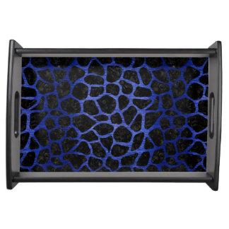 SKIN1 BLACK MARBLE & BLUE BRUSHED METAL (R) SERVING TRAY