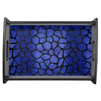 SKIN1 BLACK MARBLE & BLUE BRUSHED METAL SERVING TRAY